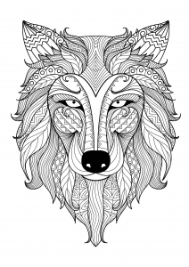 Coloriage De Loup Mandala.Tete De Loup Coloriages Difficiles Pour Adultes