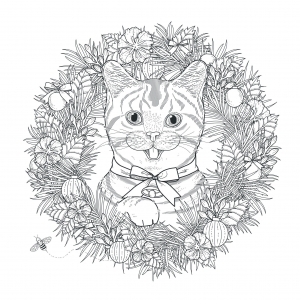 44695499 - adorable kitty coloring page in exquisite style