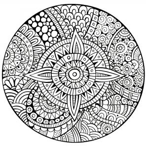 Coloriage De Mandala Etoile.Etoiles Coloriages Difficiles Pour Adultes