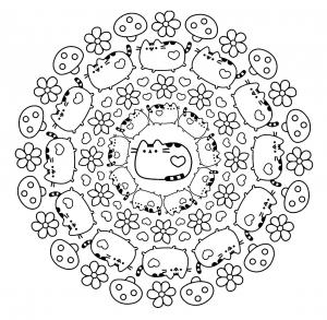 Mandalas avec des chats coloriages difficiles pour adultes - Coloriage tete de chat ...