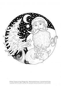 Coloriage nuit étoilée du Père Noël