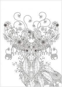 Coloriage motif renne et fleur