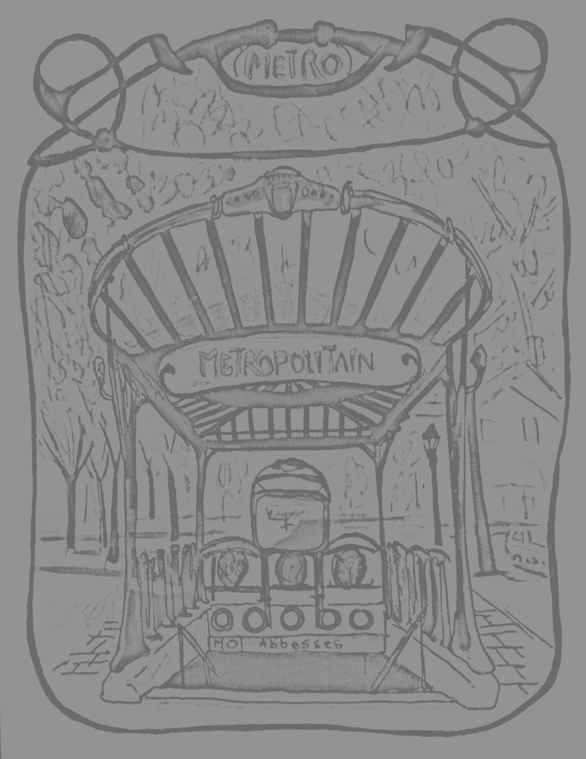 Dessin d'une entrée de station de métro parisienne, avec la fameuse inscription 'Métropolitain'A partir de la galerie : Paris
