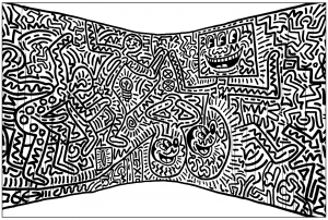 coloriage-fresque-keith-haring