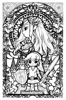 coloriage-legend-of-zelda-style-vitrail