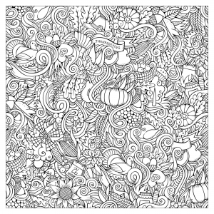coloriage-thanksgiving-doodle-carre-par-Olga-Kostenko