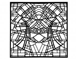 Coloriage vitrail adulte exposition Belgique René Mels 1986 version carrée