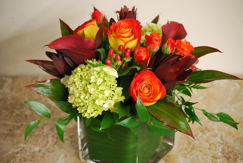 Flowers create a warm and welcoming table for family.