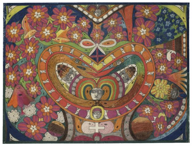 Realised by Adolf Wölfli (coloured pencils)