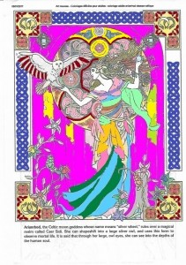 Arianrhod Celtic Goddess Art Nouveau Adult Coloring Pages